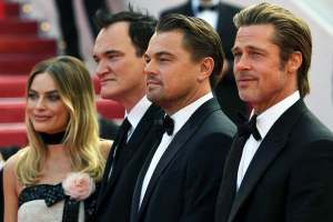 From left, Margot Robbie (who plays Sharon Tate in the film), Quentin Tarantino, Leonardo DiCaprio, and Brad Pitt at Cannes.